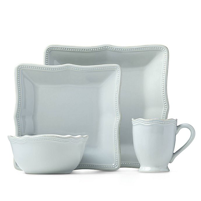 Alternate image 1 for Lenox® French Perle Bead 16-Piece Square Dinnerware Set in Ice Blue