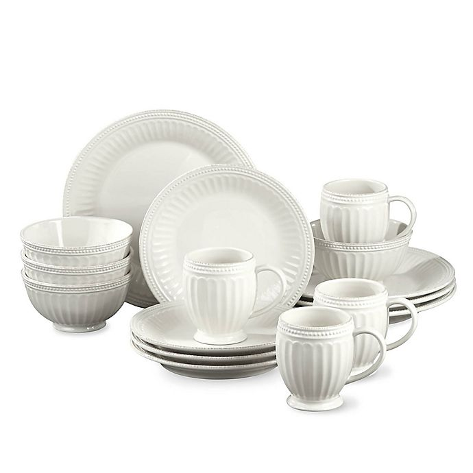 Alternate image 1 for Lenox® French Perle Groove 16-Piece Dinnerware Set in White