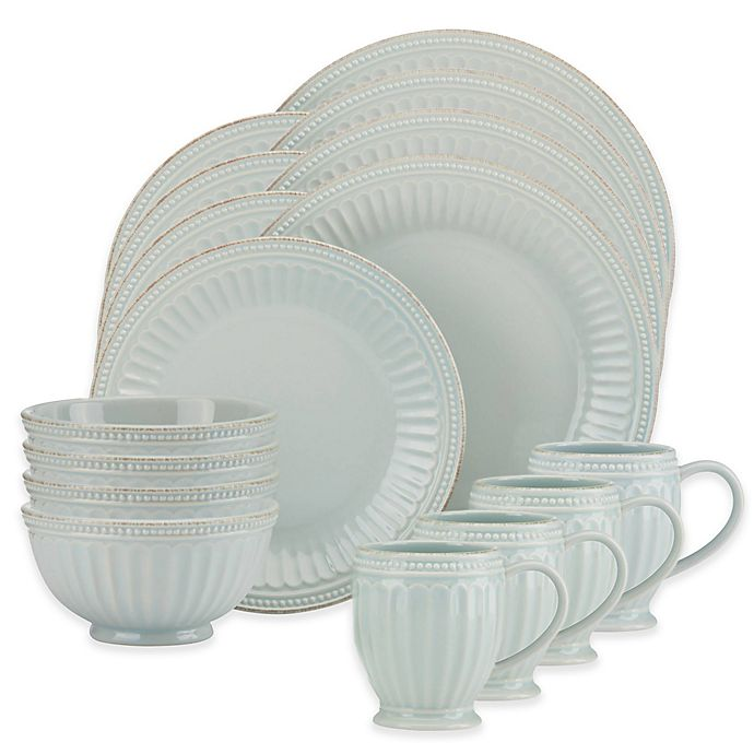 Alternate image 1 for Lenox® French Perle Groove 16-Piece Dinnerware Set in Ice Blue