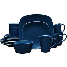 Noritake® Navy on Navy Swirl 16-Piece Square Dinnerware Set