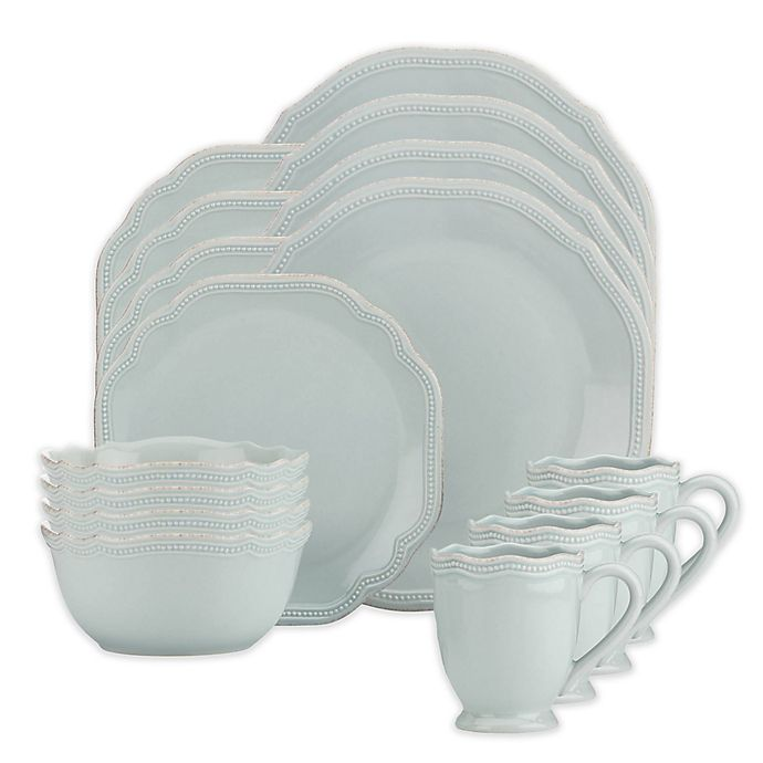 Alternate image 1 for Lenox® French Perle Bead 16-Piece Dinnerware Set in Ice Blue