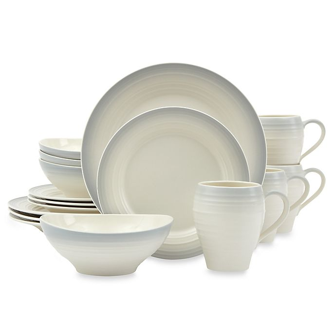 Alternate image 1 for Mikasa® Swirl Ombre 16-Piece Dinnerware Set in Grey