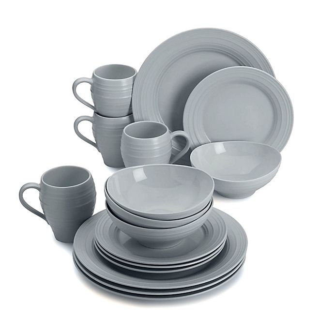 Alternate image 1 for Mikasa® Swirl 16-Piece Dinnerware Set in Grey