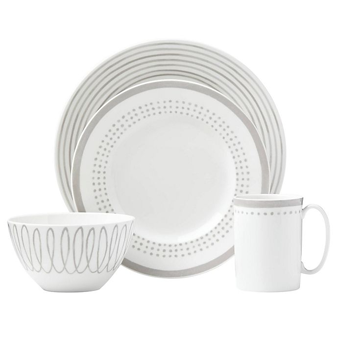 Alternate image 1 for kate spade new york Charlotte Street™ East 4-Piece Place Setting in Grey