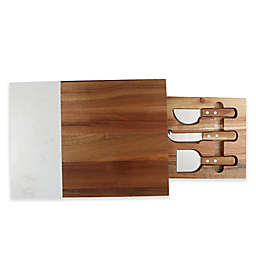 Artisanal Kitchen Supply® Cheese Knife Set & Marble Serving Board