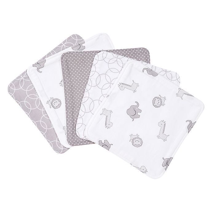 Alternate image 1 for Trend Lab® 5-Pack Circles Washcloths in Grey