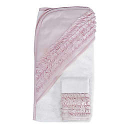 Hello Spud Petite Ruffle Organic Cotton Hooded Towel and Washcloth Set in Pink