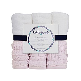 Hello Spud 3-Pack Petite Ruffle Organic Cotton Washcloths in Pink