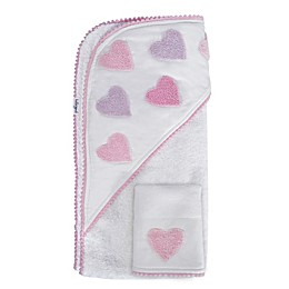 Hello Spud Heart Boucle Organic Cotton Hooded Towel and Washcloth Set in Pink