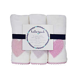 Hello Spud 3-Pack Heart Boucle Organic Cotton Washcloths in Pink