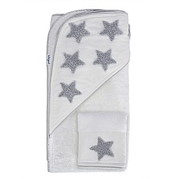 Hello Spud Star Boucle Organic Cotton Hooded Towel and Washcloth Set in Grey