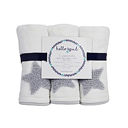 Hello Spud 3-Pack Star Boucle Organic Cotton Washcloths in Grey