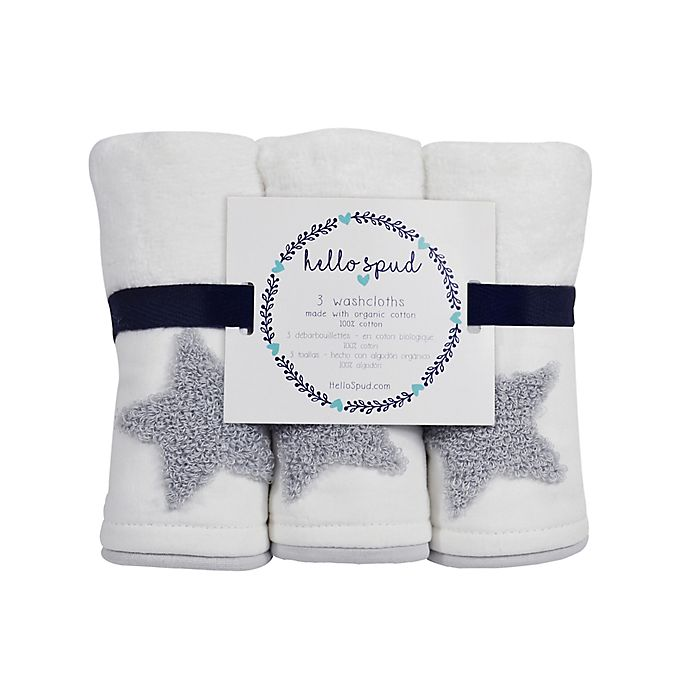 Alternate image 1 for Hello Spud 3-Pack Star Boucle Organic Cotton Washcloths in Grey