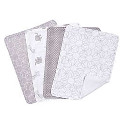 Trend Lab® 4-Pack Burp Cloth Set in Grey/White