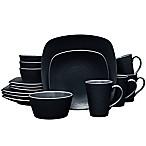 Noritake® Black on Black Swirl Square 16-Piece Dinnerware Set