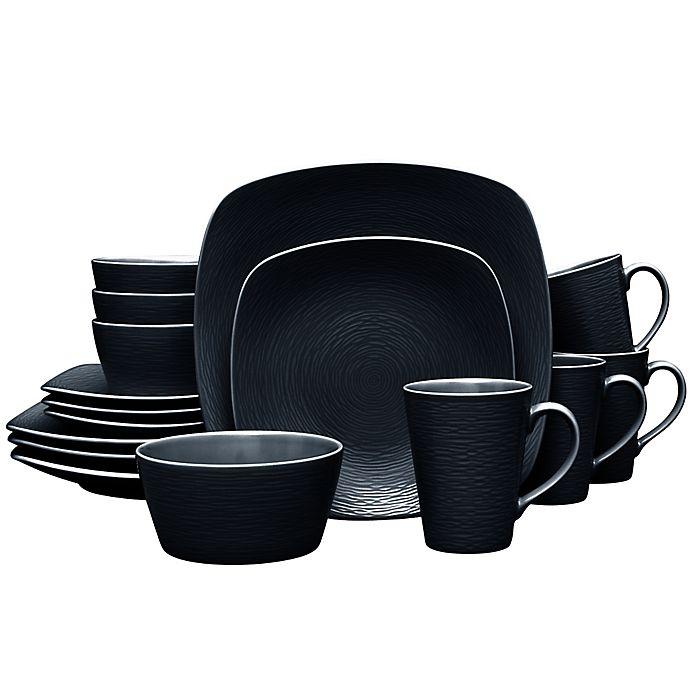 Alternate image 1 for Noritake® Black on Black Swirl Square 16-Piece Dinnerware Set