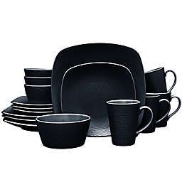 Noritake® Black on Black Swirl Square 16-Piece Dinnerware Set