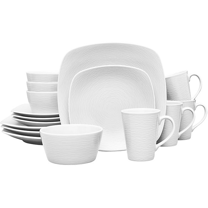 Alternate image 1 for Noritake® White on White Square Swirl 16-Piece Dinnerware Set