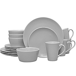 Noritake® Grey on Grey Swirl 16-Piece Coupe Dinnerware Set