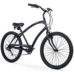 Firmstrong CA-520 Men's 7-Speed Beach Cruiser Bike in Matte Black