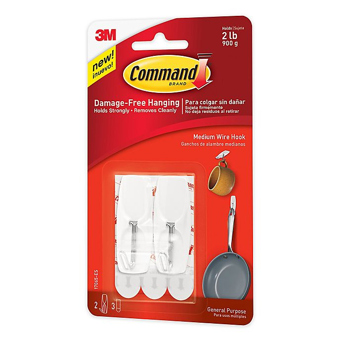 Alternate image 1 for 3M Command™ Medium Wire Hooks in White (Set of 2)
