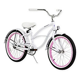 "Firmstrong Urban Girl 20"" Single Speed Beach Cruiser Bicycle in White w/Pink Rims"