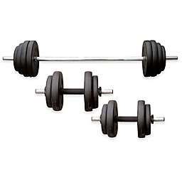 Sunny Health & Fitness® 100 lb. Vinyl Weight Set in Black