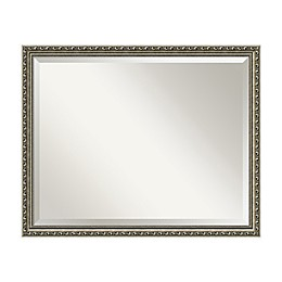 Amanti Art Parisian 22-Inch Square Framed Wall Mirror in Nickel/Silver