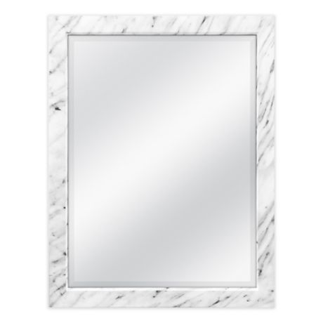 18 5 Inch X 22 Faux Marble Wall Mirror In White