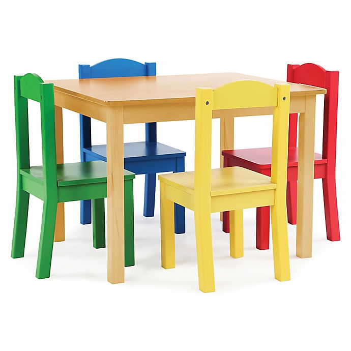 Alternate image 1 for Tot Tutors 5-Piece Wooden Table and Chairs Set in Natural/Primary