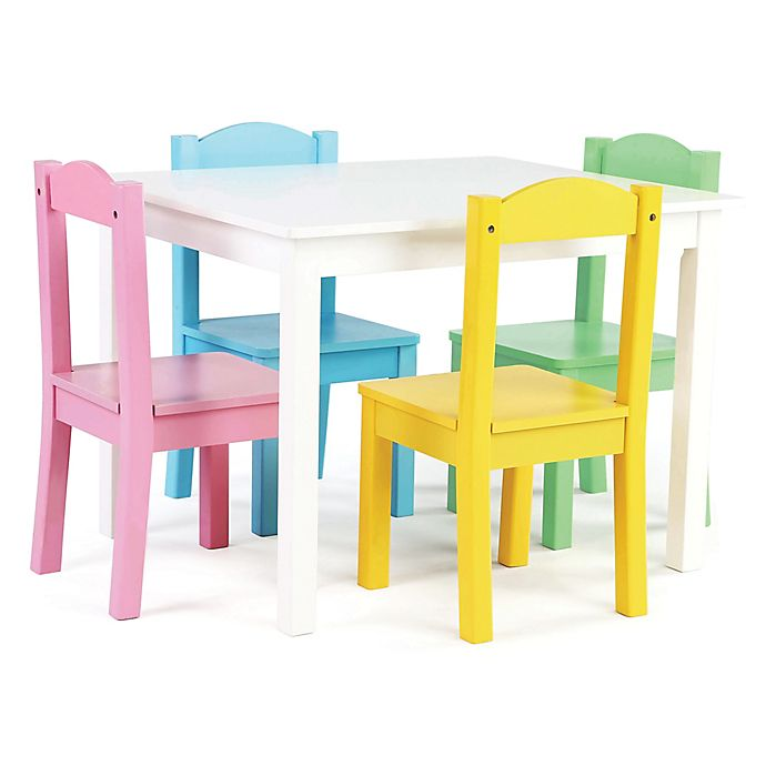 Alternate image 1 for Tot Tutors 5-Piece Wooden Table and Chairs Set in White/Pastel