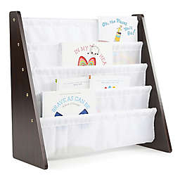 Tot Tutors Child's 4-Pocket Book Rack in Espresso/White