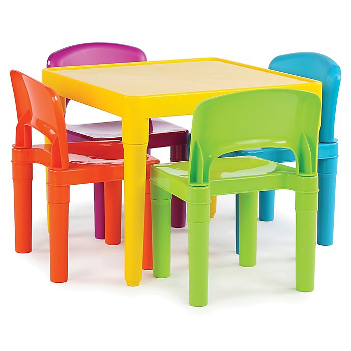 Alternate image 1 for Tot Tutors Snap-Together 5-Piece Table and Chairs Set in Vibrant Multicolor