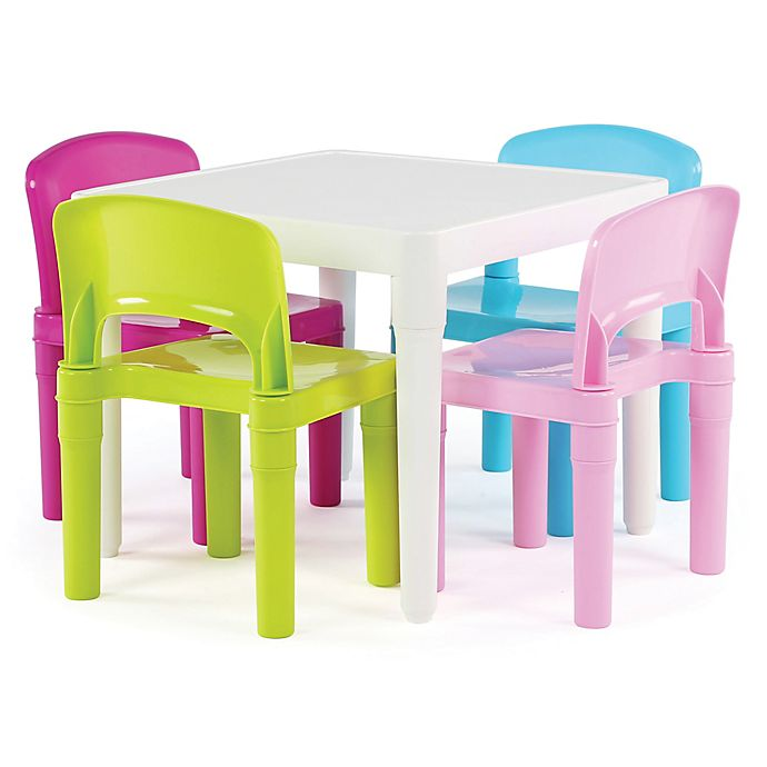 Alternate image 1 for Tot Tutors Snap-Together 5-Piece Table and Chairs Set in Neon