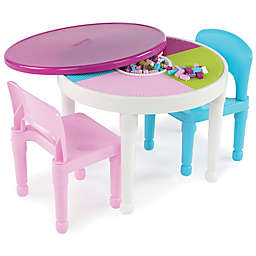 Tot Tutors 3-Piece 2-in-1 Activity Table Set in Neon