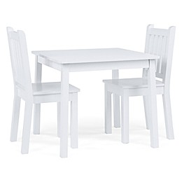 Tot Tutors 3-Piece Wooden Table and Chairs Set in White