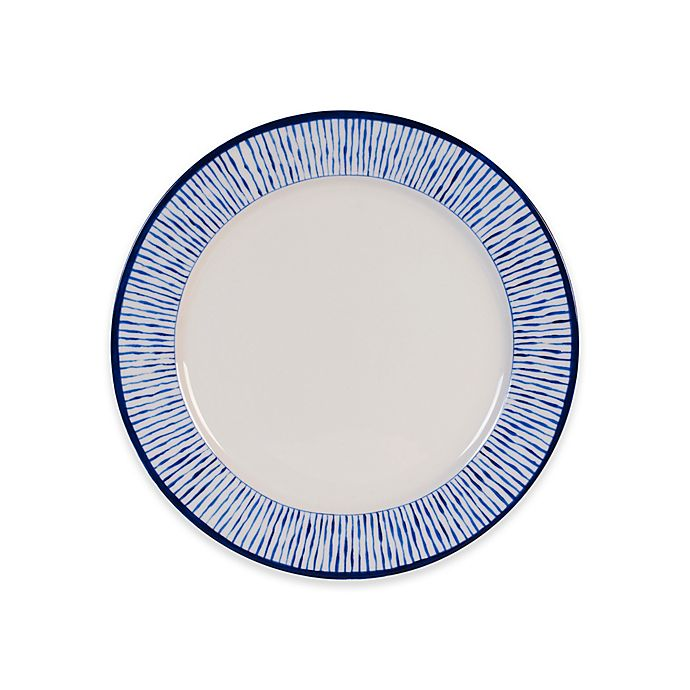 Alternate image 1 for Everyday White by Fitz and Floyd® Blue Stripe Rim Salad Plate in White
