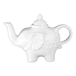 Elephant Porcelain Teapot in White