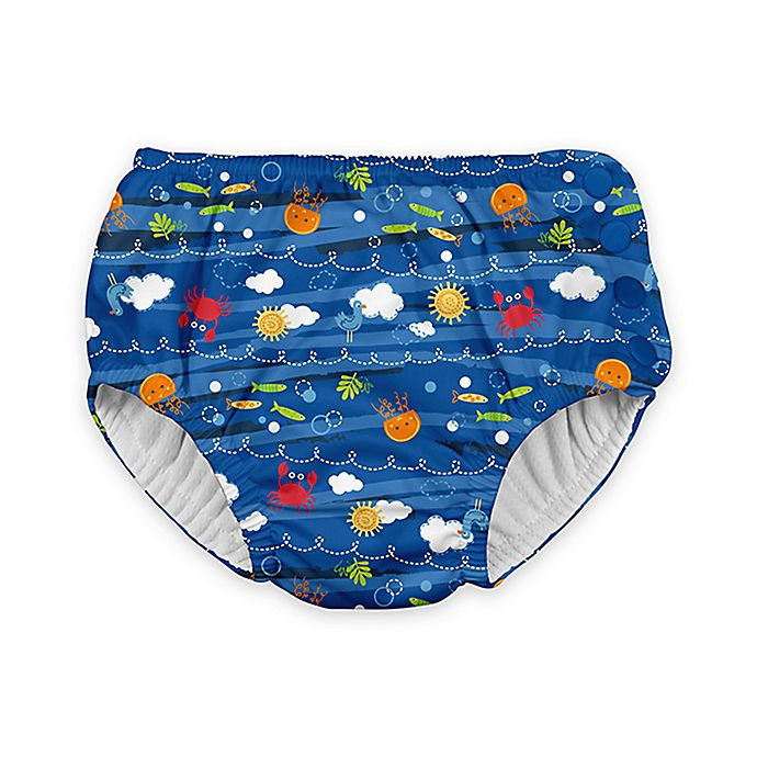 Alternate image 1 for i play.® Snap Sea Friends Swim Diaper in Royal Blue