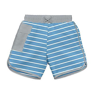 i play.® Striped Ultimate Swim Diaper Pocket Board Shorts in Light Blue