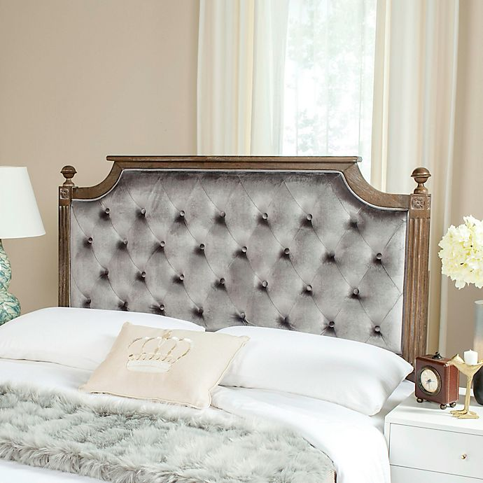 buy safavieh rustic wood tufted velvet queen headboard in grey from bed bath beyond. Black Bedroom Furniture Sets. Home Design Ideas