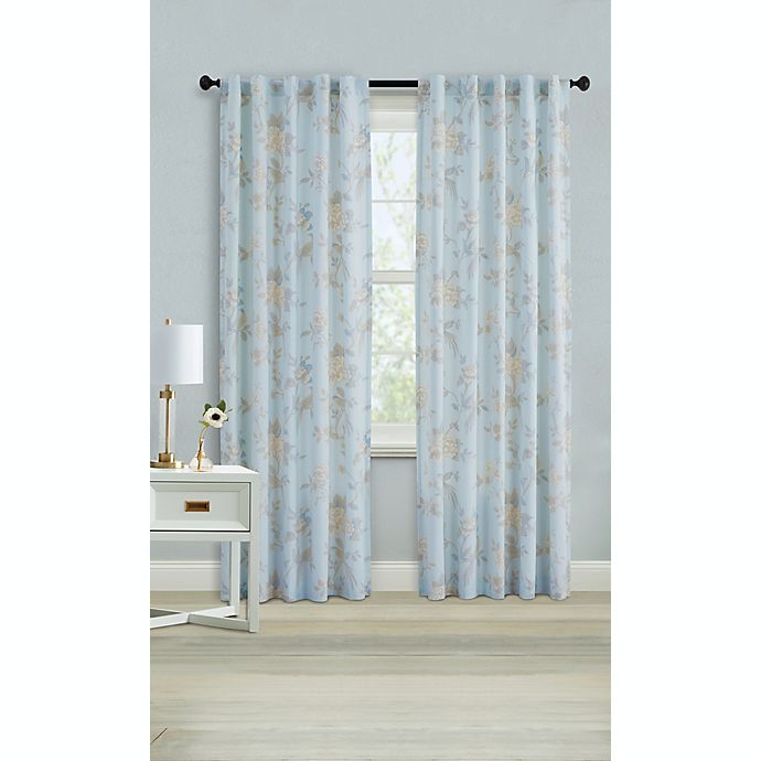 Alternate image 1 for Wamsutta® Margate 95-Inch Rod Pocket Light Filtering Window Curtain Panel in Illusion Blue