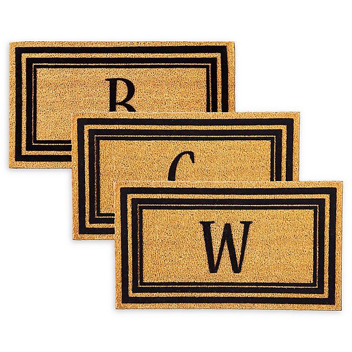 Rubber Door Mat Frame And Flocked Monogram Letter Inserts