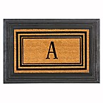 Flocked Monogram Letter  A  Door Mat Insert in Black