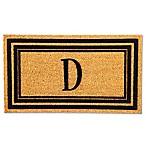 Flocked Monogram Letter  D  Door Mat Insert in Black