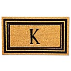 Flocked Monogram Letter  K  Door Mat Insert in Black