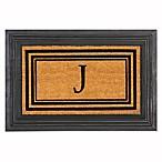 Flocked Monogram Letter  J  Door Mat Insert in Black