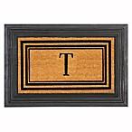 Flocked Monogram Letter  T  Door Mat Insert in Black