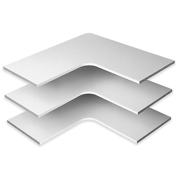 Alternate image 1 for Easy Track 30-Inch Corner Shelves in White (Set of 3)