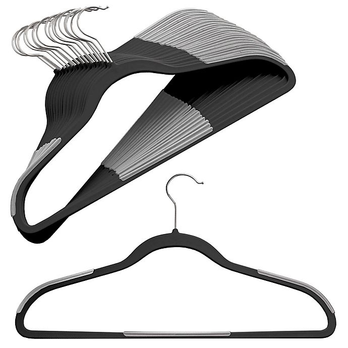 Alternate image 1 for ORG™ Slim Grips™ Hangers in Black (Set of 16)